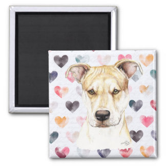 Red Nose Pit Bull Dog Art Magnet