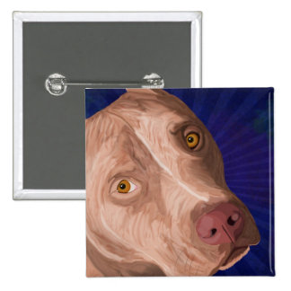 Red Nose Pit Bull with a Blue Background Button