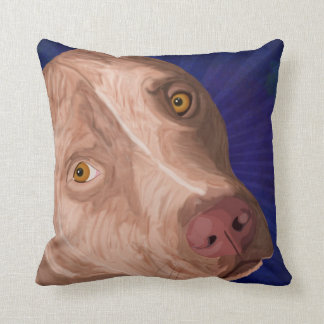 Red Nose Pit Bull with a Blue Background Cushion
