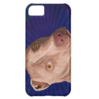 Red Nose Pit Bull with a Blue Background iPhone 5C Case
