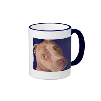 Red Nose Pit Bull with a Blue Background Coffee Mugs