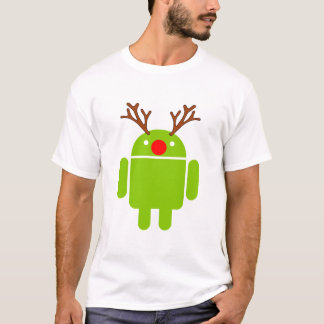 Red Nosed Android Robot for the Holidays T-Shirt