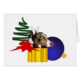 Red Nosed Basset Holiday Card