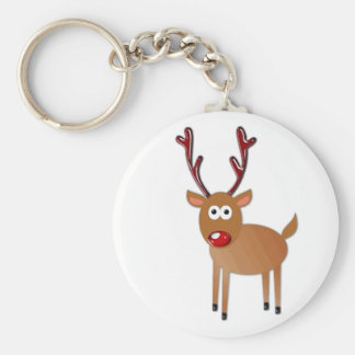 Red Nosed Reindeer Basic Round Button Key Ring