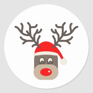 Red Nosed Reindeer Classic Round Sticker