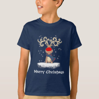 Red-nosed reindeer kid's blue t-shirt