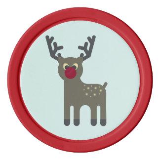 Red Nosed Reindeer Poker Chips