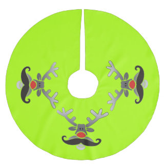 Red Nosed Rudolph with Moustache + your idea Brushed Polyester Tree Skirt