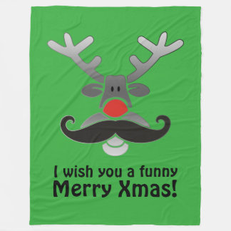 Red Nosed Rudolph with Moustache + your idea Fleece Blanket