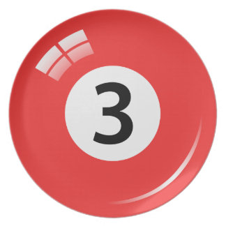Red number 3 billiard or pool ball novelty plate