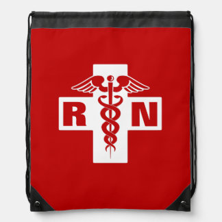 Red Nurse RN or Initials Drawstring Bag