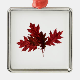 Red Oak Leaves Metal Ornament