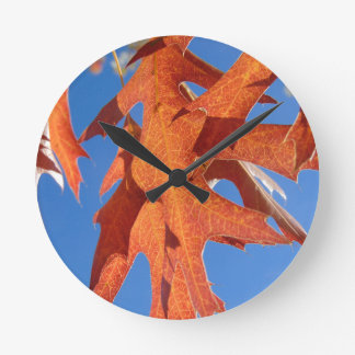 Red Oak Leaves Round Clock