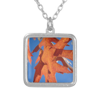 Red Oak Leaves Silver Plated Necklace