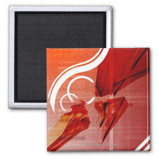 Red objects with white lines fridge magnet