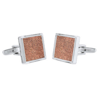 Red ochre sand and pebbles silver finish cuff links