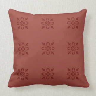 Red Ochre Tan Moroccan French Damask Cushion