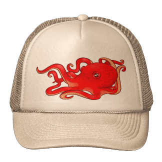 Red Octopus Trucker Hat