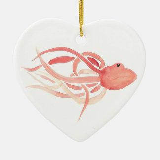 Red Octopus Ceramic Heart Decoration