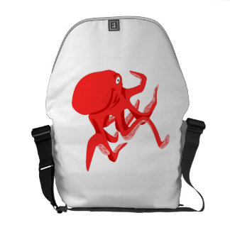 Red Octopus Courier Bag