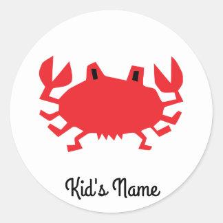 Red of sea crab classic round sticker