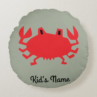Red of sea crab round cushion