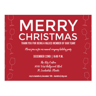 Red Office Business Holiday Christmas Party Invite Postcard