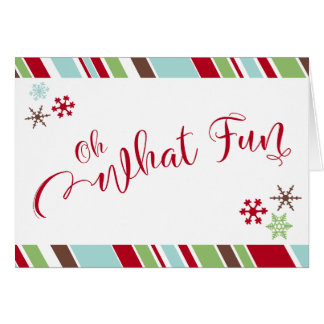 Red Oh What Fun Snowflakes & Diagonal Stripes Card