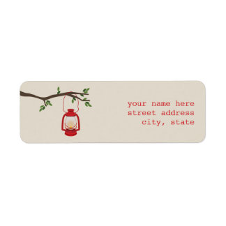 Red Oil Lantern Camping Address Label