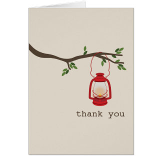 Red Oil Lantern Camping / Outdoors Thank You Card