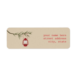 Red Oil Lantern Evergreen Tree Address Label