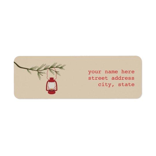 Red Oil Lantern Evergreen Tree Address Label