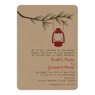 Red Oil Lantern Evergreen Tree Wedding Card