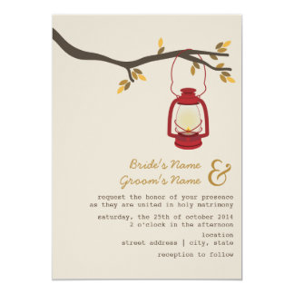Red Oil Lantern Wilderness / Camping Fall Wedding Card