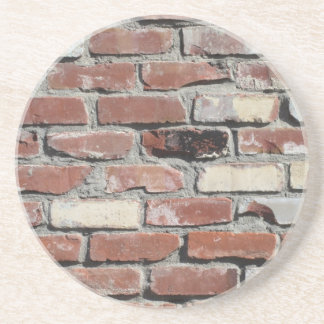 Red old brick wall effect beverage coasters