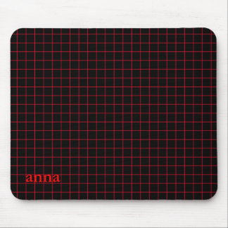Red on Black Grid Mouse Pad