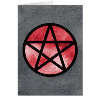 Red on Black Pentacle Card