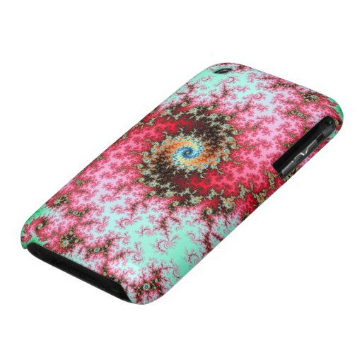 Red on Green Double Fractal Spiral iPhone 3 Case
