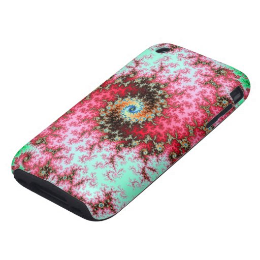 Red on Green Double Fractal Spiral iPhone 3 Tough Covers