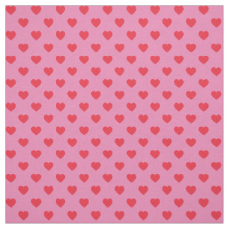 Red on Pink Tiny Heart Pattern Fabric