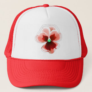 Red on Red Pansy Flower Editable Trucker Hat