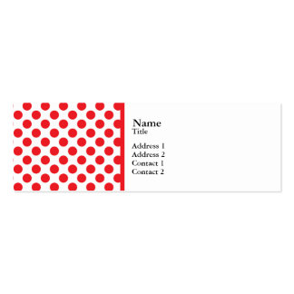Red on White Polka Dot Pack Of Skinny Business Cards