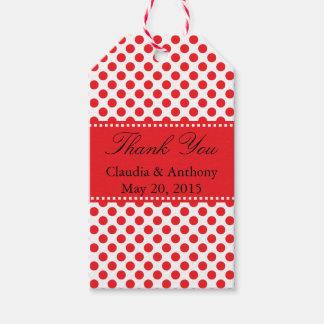 Red on White Polka Dot Thank You Wedding Gift Tags