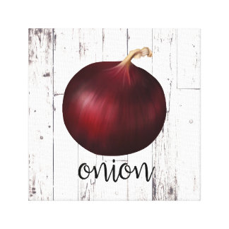 RED ONION White Wood Rustic Farmhouse Kitchen Art Canvas Print