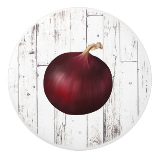 Red Onion White Wood Rustic Farmhouse Kitchen Ceramic Knob