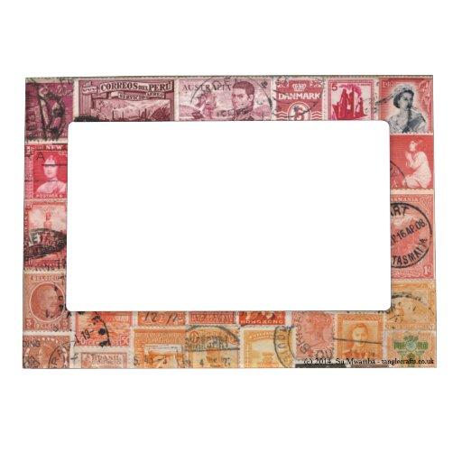 Red-Orange 1 Postage Stamp Collage, Picture Frame Magnetic Frames