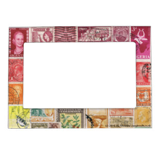 Red-Orange 2 Postage Stamp Collage, Picture Frame Magnetic Picture Frames