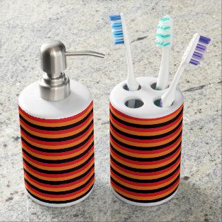 Red, Orange and Black Stripes Bathroom Set