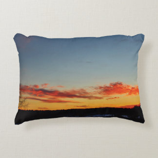 Red, Orange and Blue Sunset Sky Decorative Cushion