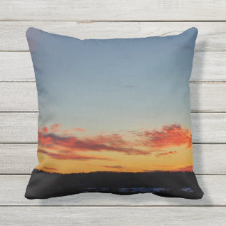 Red, Orange and Blue Sunset Sky Outdoor Cushion